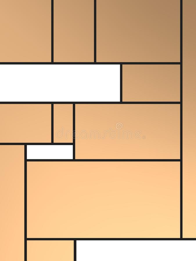 Geametric composition of tribute to Mondrian with withe rectangles over cooper background. Compositions of geometric pattern with different colors and easy to stock illustration