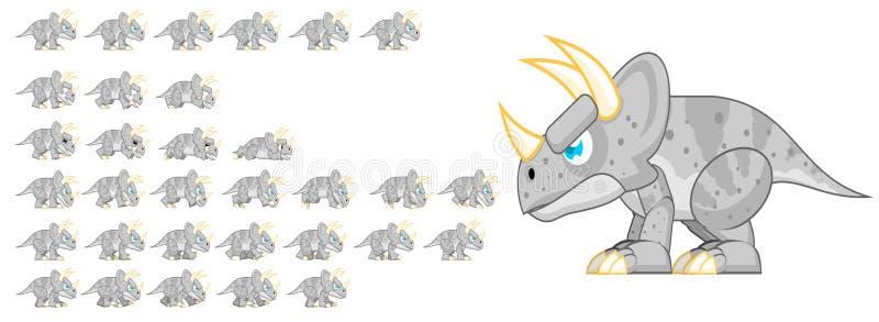 Geanimeerd Dinosauruskarakter Sprites royalty-vrije illustratie