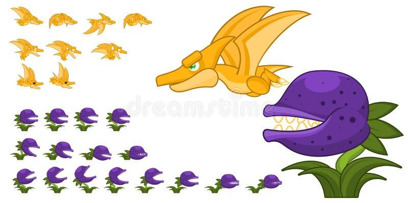Geanimeerd Dinosauruskarakter Sprites stock illustratie
