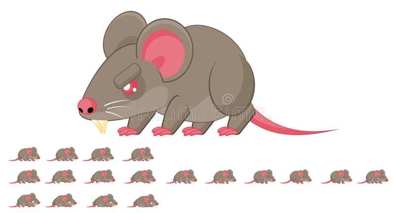 Geanimeerd Rattenkarakter Sprites stock illustratie