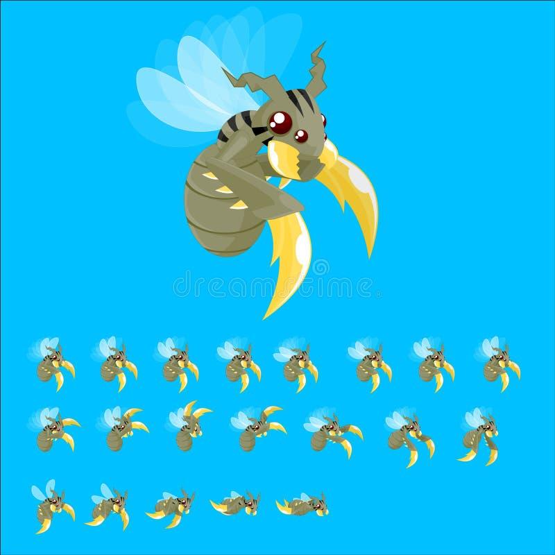 Geanimeerd Reuzebijenkarakter Sprites stock illustratie