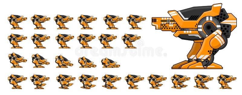 Geanimeerd Robotkarakter Sprites royalty-vrije illustratie