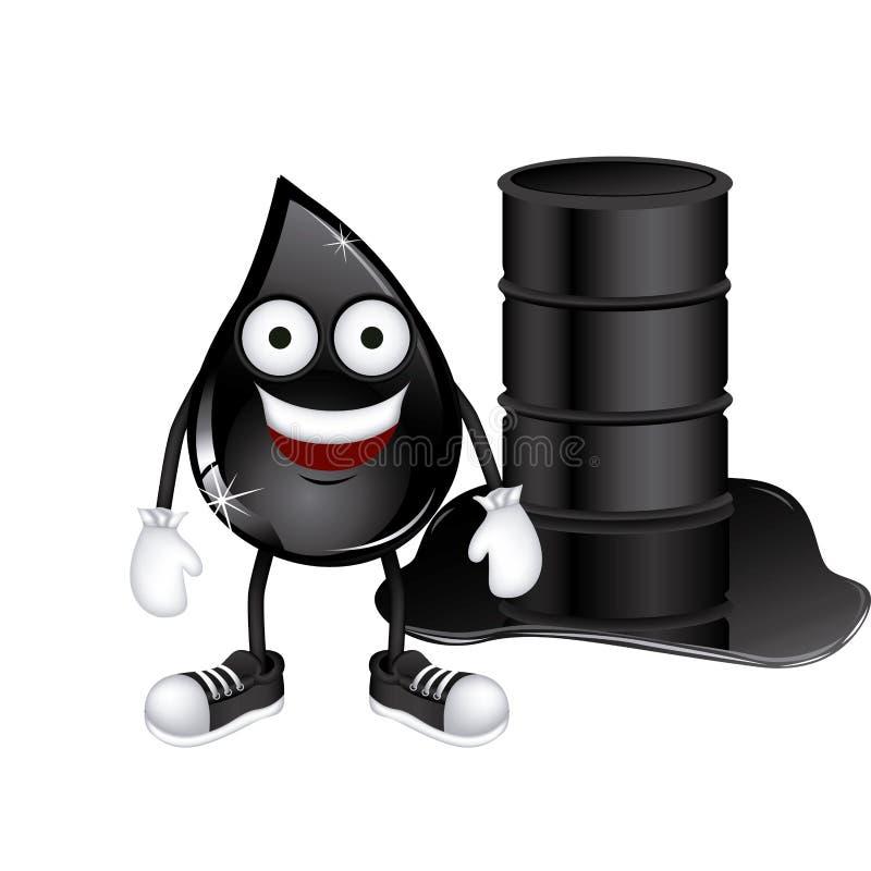 geanimeerde daling van aardolie en vat gemorste olie stock illustratie