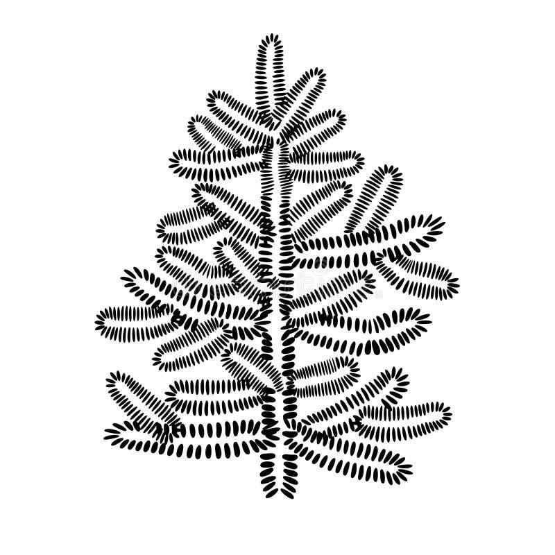 Geanimeerde Kerstmis groene die boom op witte achtergrond in vlakke stijl wordt geïsoleerd royalty-vrije illustratie