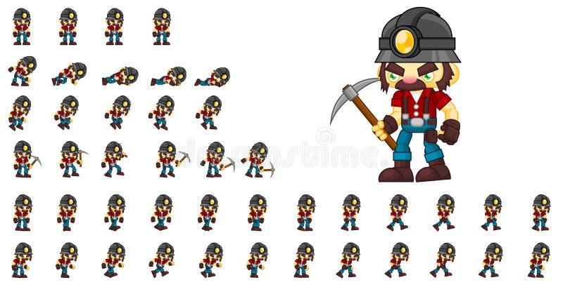 Geanimeerde Mijnwerker Character Sprites vector illustratie