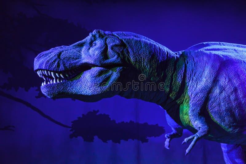 Geanimeerde t-Rex bij het Biologiemuseum stock foto