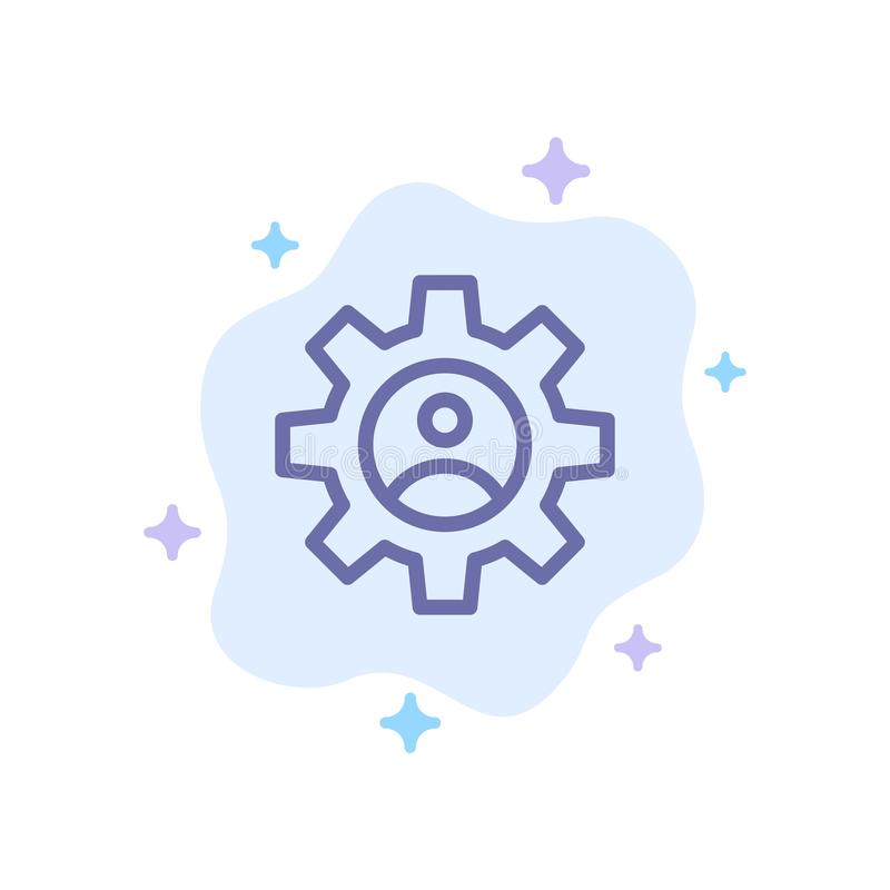 Gear、Controls、Profile、Use Blue Icon on Abstract Cloud Background(摘要云背景上的蓝色图标) 库存例证