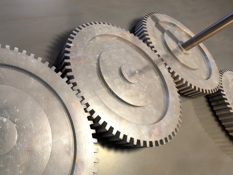 Gear. Some gear on a metal surface. Digital illustration royalty free stock photo