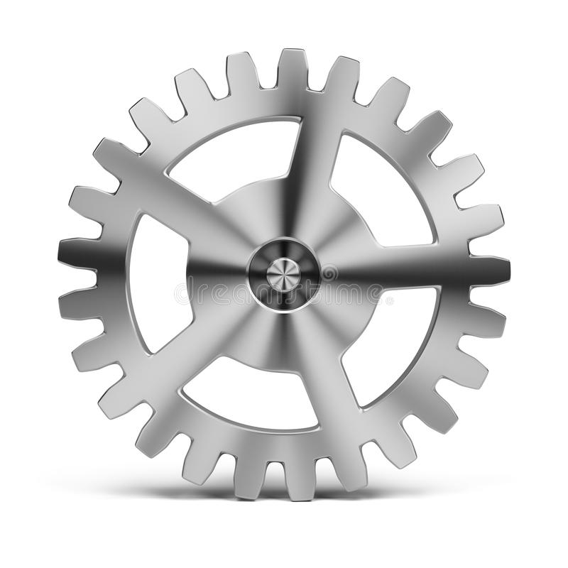 Gear. Polished stainless steel gear. 3d image. White background stock illustration
