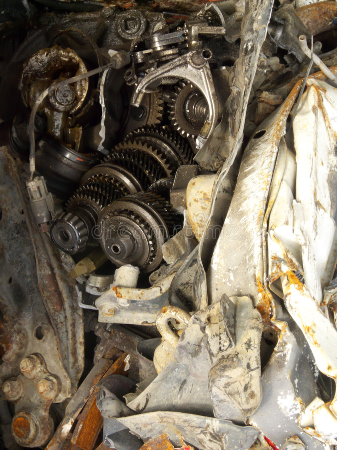 Gear. Old gear in a pile of compressed cars in Tromsoe, norwegian arctic region stock images