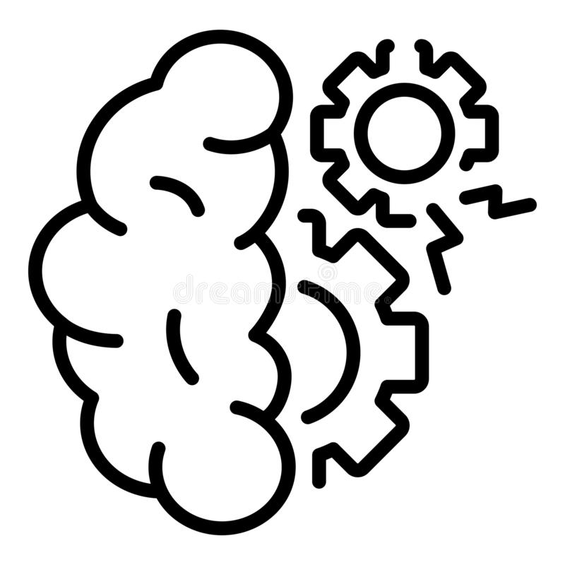 Gear brain icon, outline style vector illustration