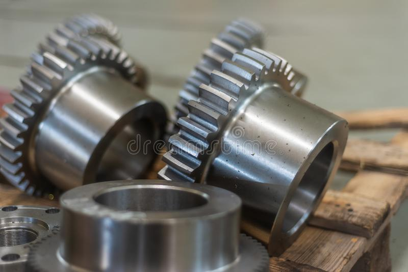 Gear bushings after milling are on the rack.  stock photography