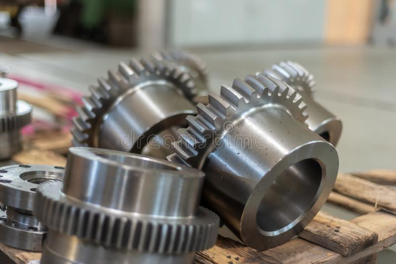 Gear bushings after milling are on the rack.  stock photos