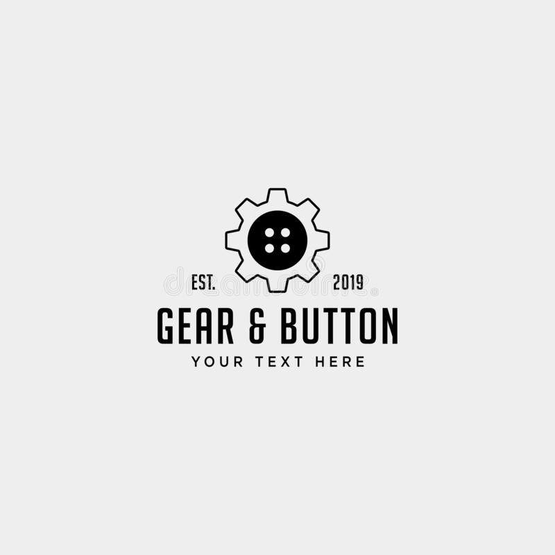 Gear button logo line clothes industrial vector icon isolated. Gear button logo line clothes industrial vector icon element isolated, flat, sign, illustration royalty free stock image