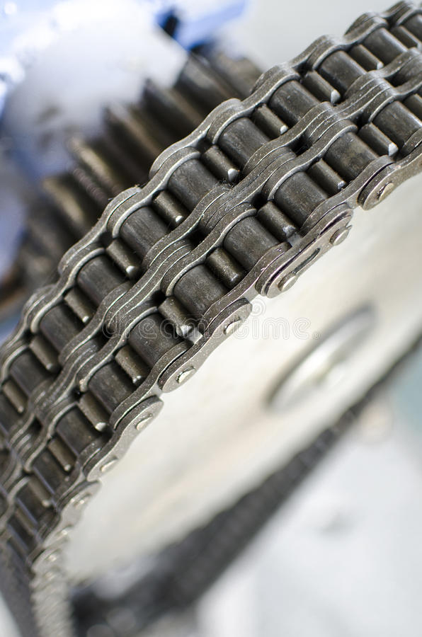 Gear and chain close up stock images