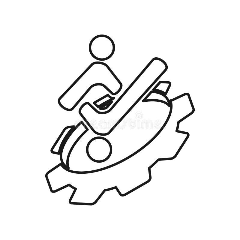 Gear checklist people Commitment Teamwork Together Outline Logo royalty free illustration