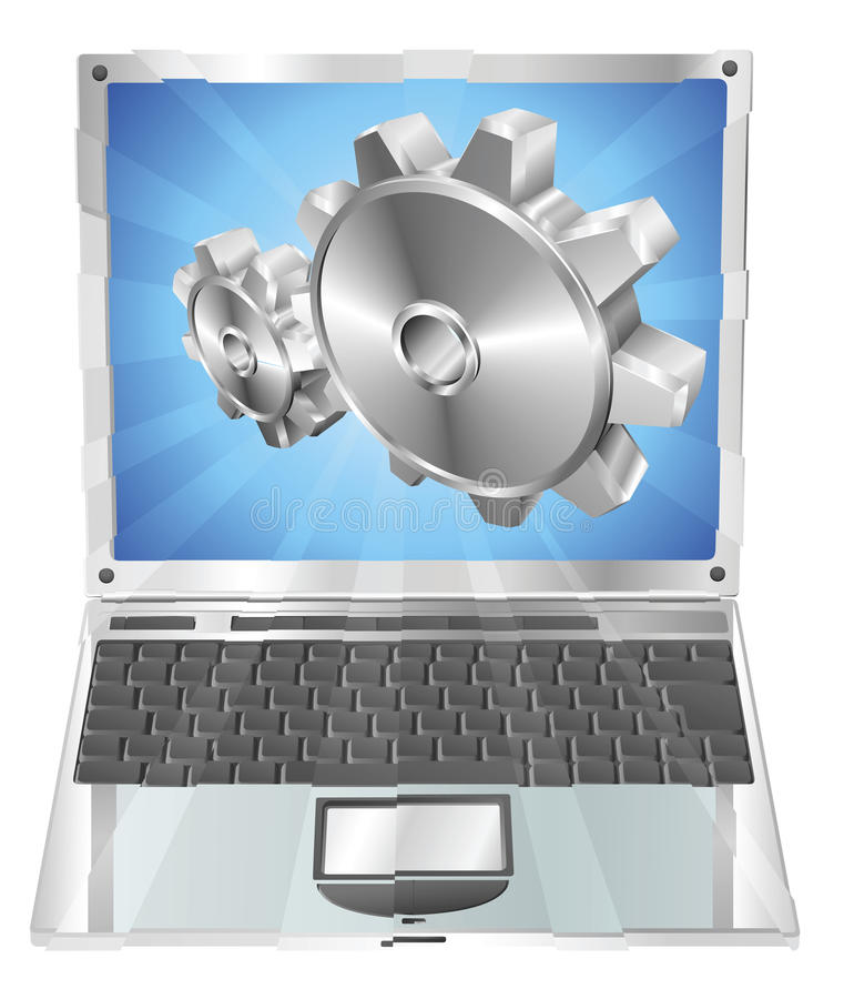 Download Gear Cogs Flying Out Of Laptop Screen Concept Royalty Free Stock Photography - Image: 19257367