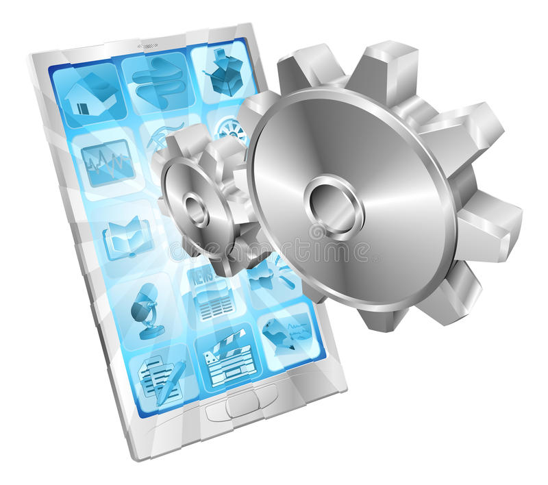 Gear cogs flying out of phone screen concept stock illustration
