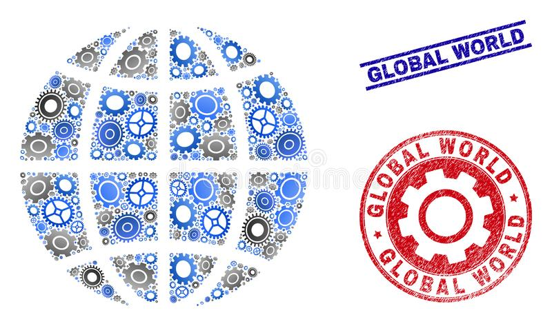 Gear Collage Vector Planet Globe and Grunge Seals royalty free illustration