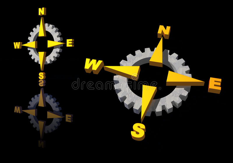 Gear compass logo stock illustration