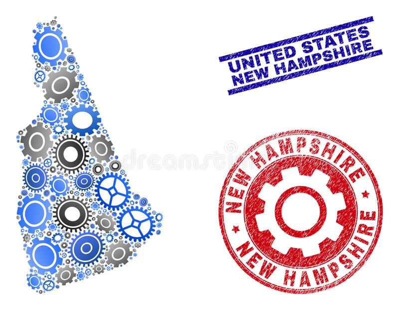 Gear Composition Vector New Hampshire State Map and Grunge Seals stock illustration