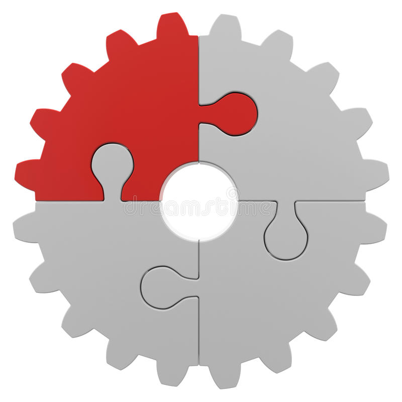 Gear consisting of puzzles. Isolated render on a white background royalty free illustration
