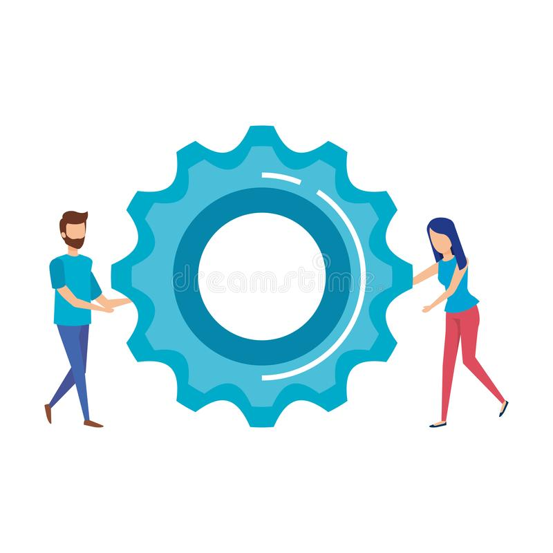 Gear with couple mini people royalty free illustration