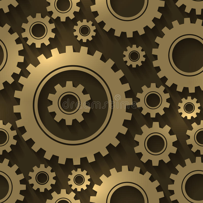 Gear design abstract background. Gears and cogwheels vector seamless pattern. Industrial technology mechanical engineering illustration stock illustration