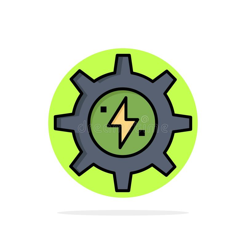 Gear, Energy, Solar, Power Abstract Circle Background Flat color Icon vector illustration