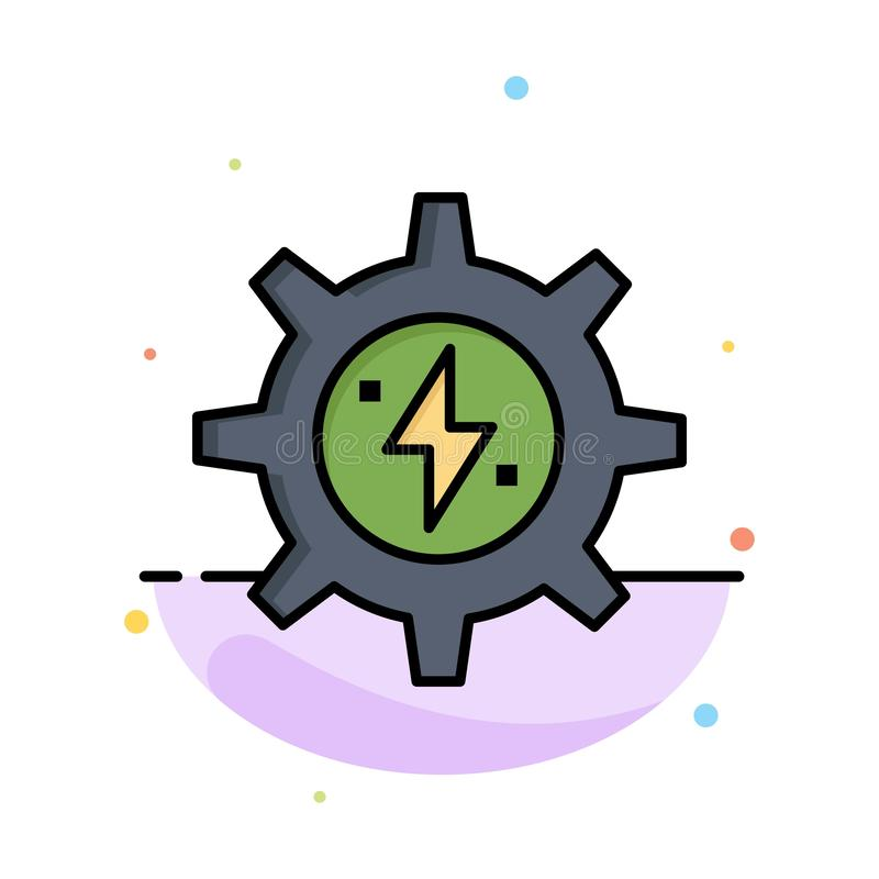 Gear, Energy, Solar, Power Abstract Flat Color Icon Template royalty free illustration