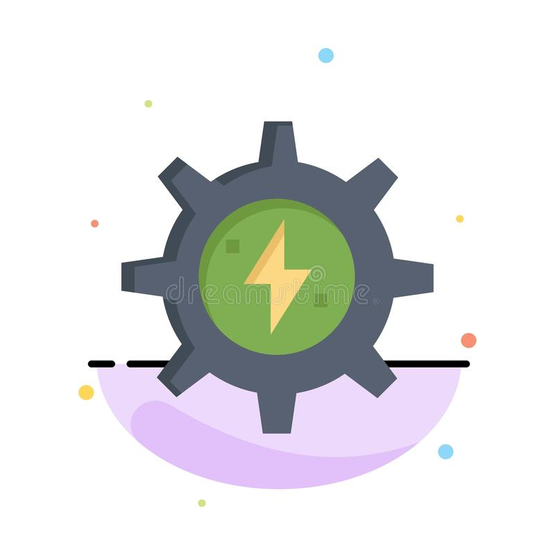 Gear, Energy, Solar, Power Abstract Flat Color Icon Template stock illustration