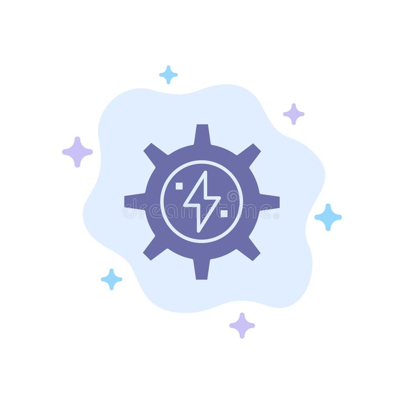 Gear, Energy, Solar, Power Blue Icon on Abstract Cloud Background stock illustration