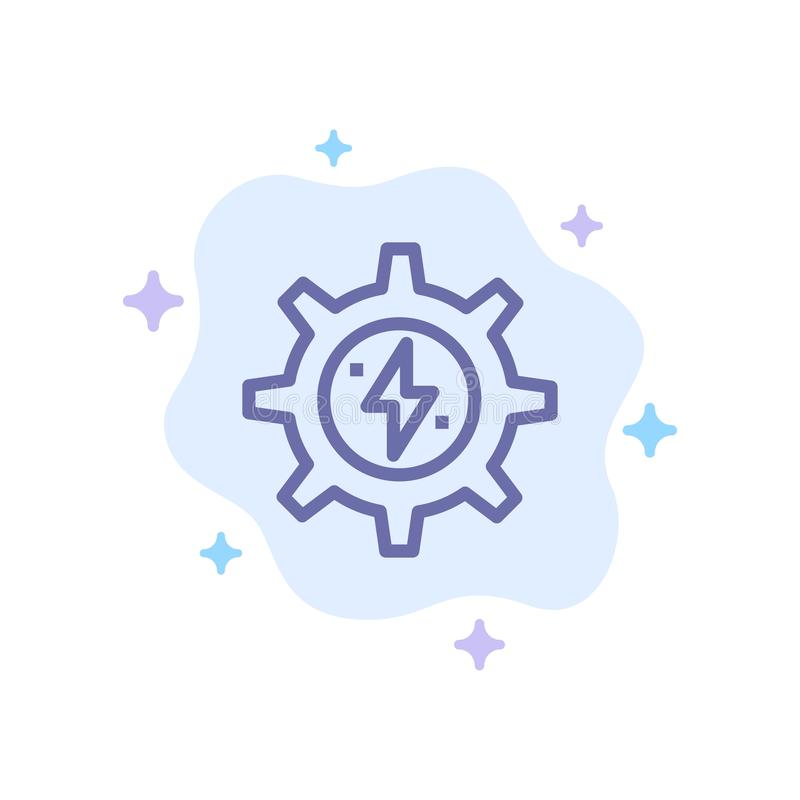 Gear, Energy, Solar, Power Blue Icon on Abstract Cloud Background vector illustration
