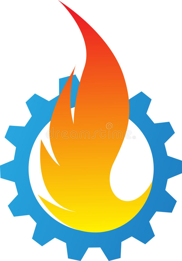 Gear flame. Illustration of gear flame design isolated on white background stock illustration