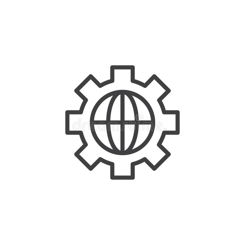Gear with globe outline icon vector illustration