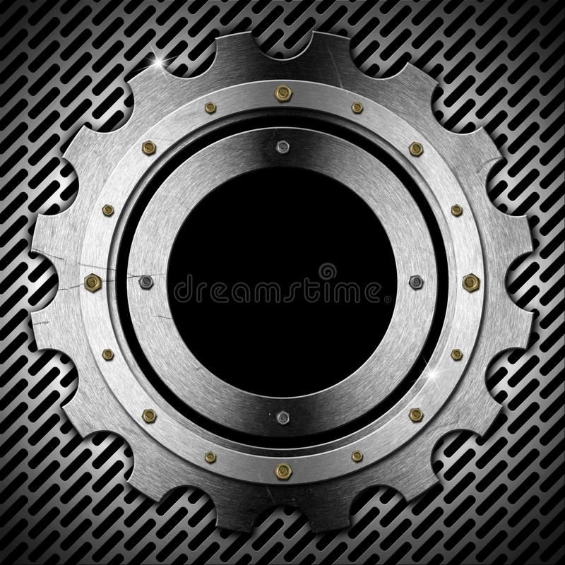 Gear - Gray Metal Porthole vector illustration