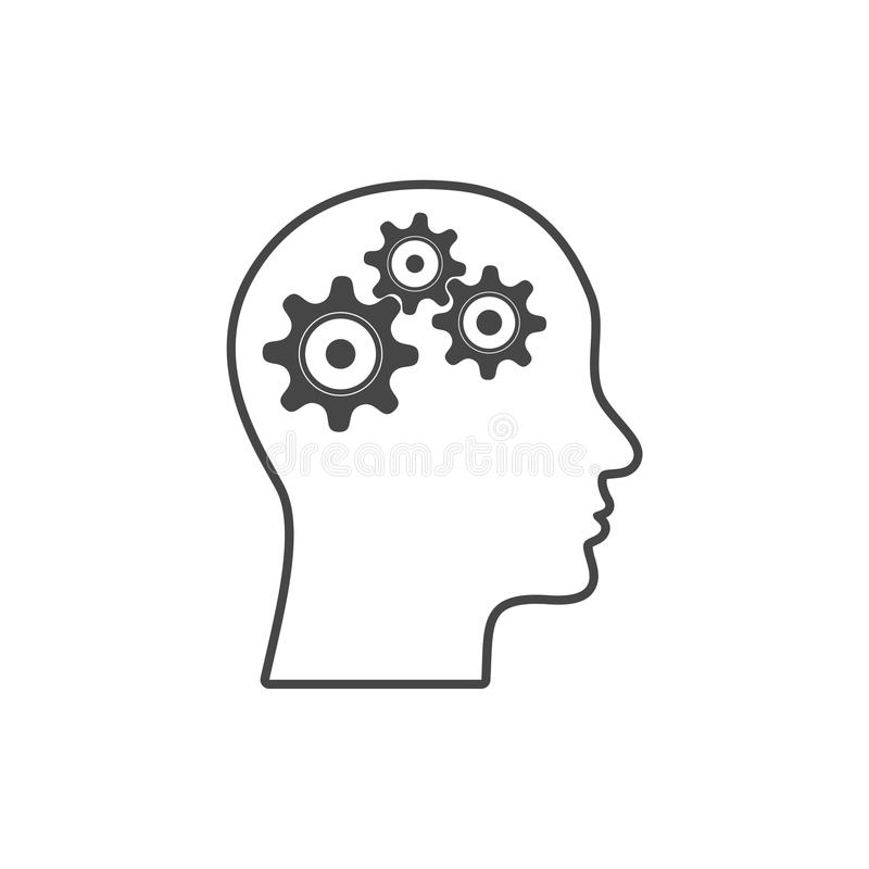 Gear in head icon vector illustration