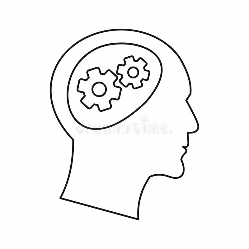 Gear in head icon, outline style. Gear in head icon in outline style on a white background vector illustration royalty free illustration