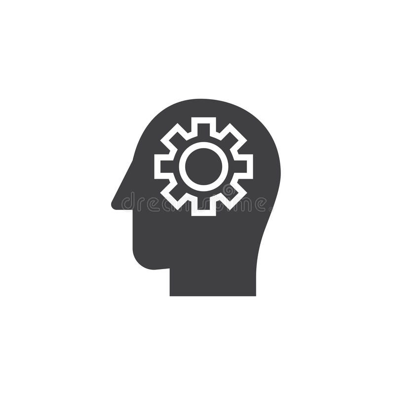 Gear in head icon vector, filled flat sign, solid pictogram stock illustration