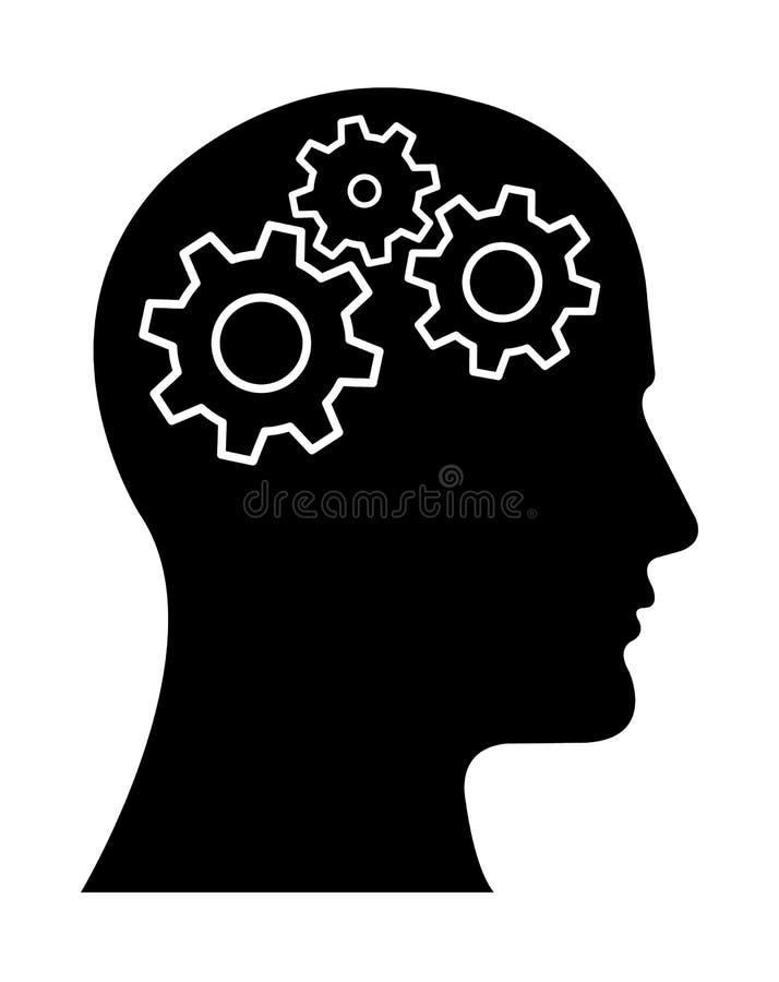 Gear Head Man Profile Thinking about stock illustration