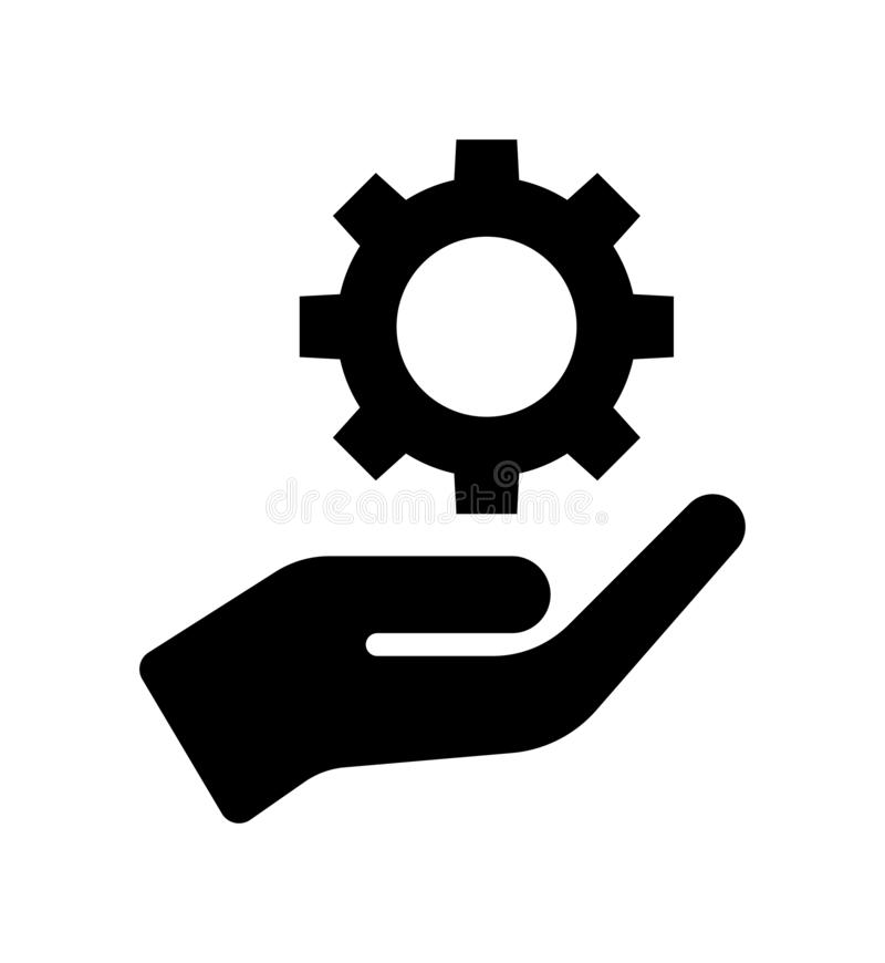 Gear in hand icon. Hand with gear sign. simple vector filled flat cogwheel gear icon solid pictogram isolated on white background royalty free illustration