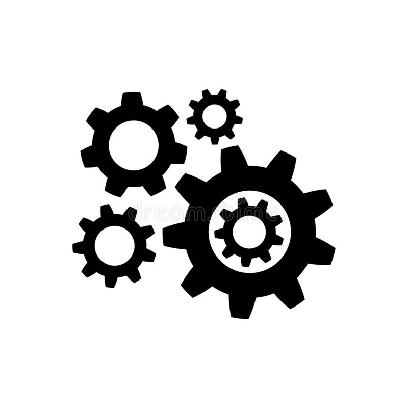 Gear icon in flat style. Wheel symbol stock illustration