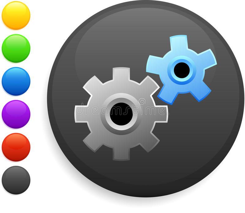 Gear icon on round internet button. Machine part icon on round internet button original illustration 6 color versions included stock illustration