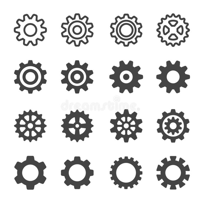 Free Gear Icon Set Royalty Free Stock Photography - 136571607