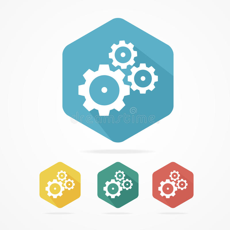 Gear icon set. Flat design style royalty free illustration