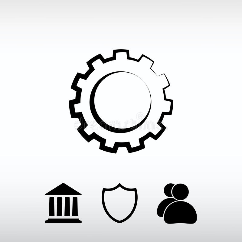 Gear icon, vector illustration. Flat design style stock images