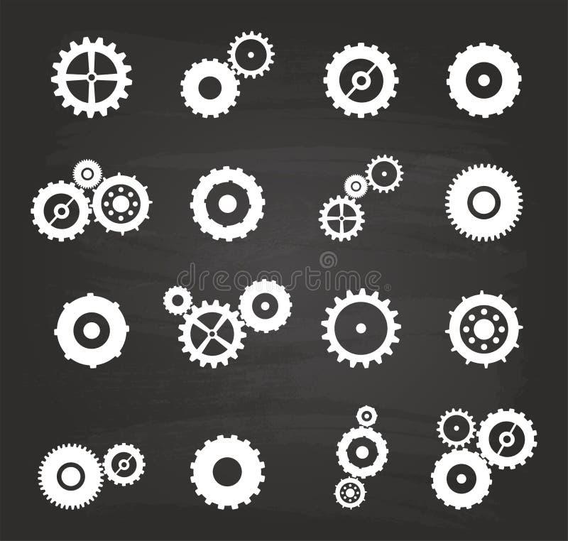 Gear Icons Set. On Blackboard stock illustration