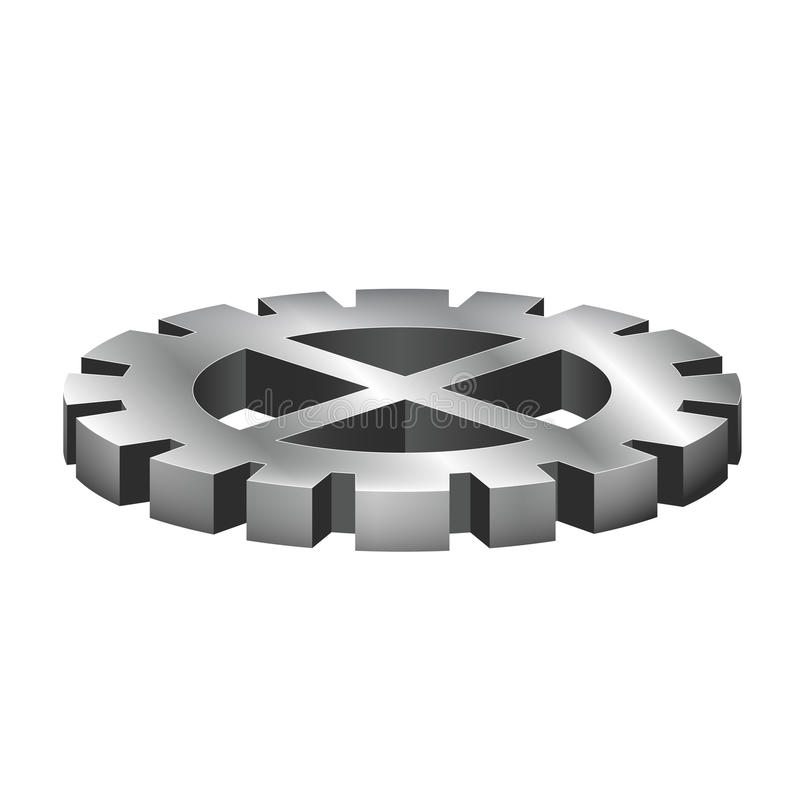Gear. Illustration of a shiny silver gear isolated on white stock illustration