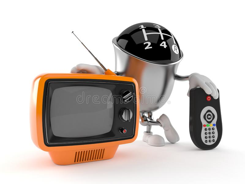 Gear knob character with tv set and remote. Isolated on white background. 3d illustration vector illustration
