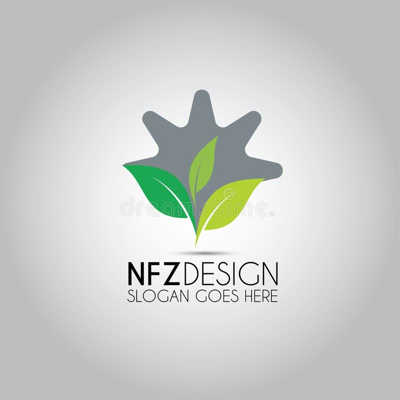 Gear Leaf Vector Logo stock illustration